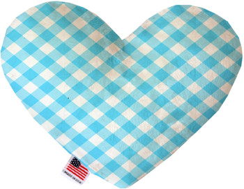 Baby Blue Plaid Canvas Heart Dog Toy, 2 Sizes