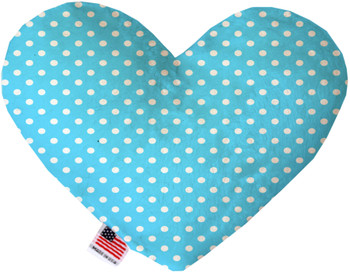 Aqua Polka Dots Canvas Heart Dog Toy, 2 Sizes