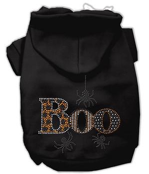 Boo Rhinestone Hoodies - Black