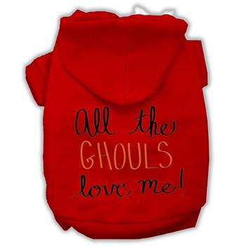 All The Ghouls Screenprint Dog Hoodie - Red