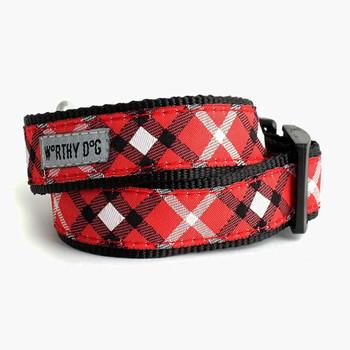 Bias Plaid Red Pet Dog & Cat Collar & Lead