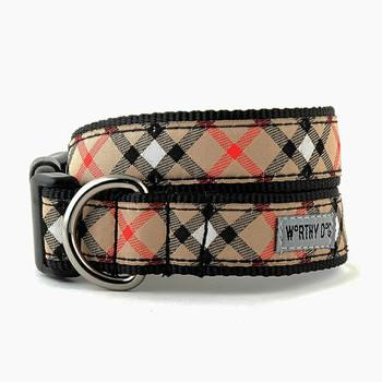 Bias Plaid Tan Pet Dog & Cat Collar & Lead