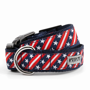 Bias Stars & Stripes Pet Dog Collar & Lead