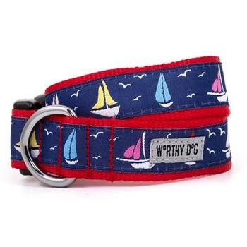 Navy Sailboats Pet Dog Collar & Lead