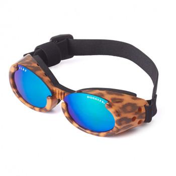 Leopard Print Frame ILS Mirror Green Lens Dog Sunglasses