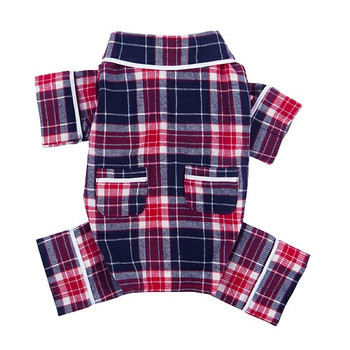 Navy Blue Plaid Flannel Dog Pajamas