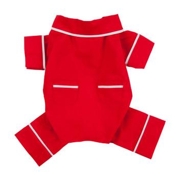 Red Poplin Cotton Dog Pajamas