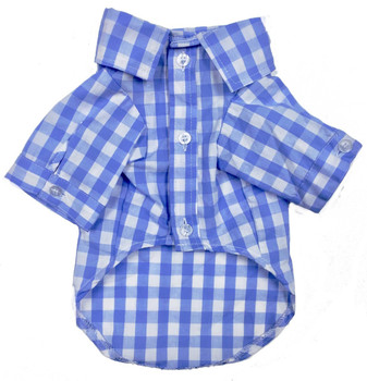 Blue Plaid Button Down Dog Shirt