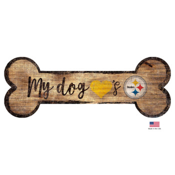 Pittsburgh Steelers Distressed Dog Bone Wooden Sign