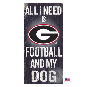 Georgia Bulldogs Distressed Football And My Dog Sign