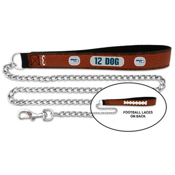 Seattle Seahawks 12th Dog Football Leather and Chain Leash