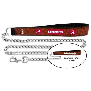 Alabama Crimson Tide Football Leather and Chain Leash