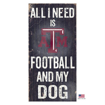 Texas A&M Aggies Distressed Football And My Dog Sign