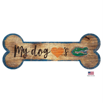 Florida Gators Distressed Dog Bone Wooden Sign