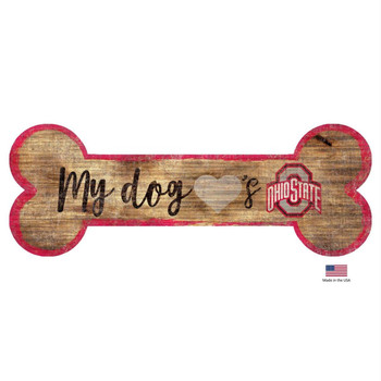 Ohio State Buckeyes Distressed Dog Bone Wooden Sign