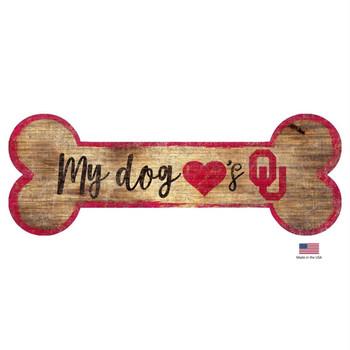 Oklahoma Sooners Distressed Dog Bone Wooden Sign