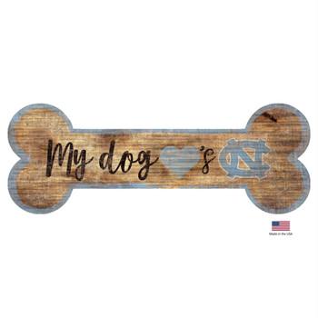 North Carolina Tarheels Distressed Dog Bone Wooden Sign