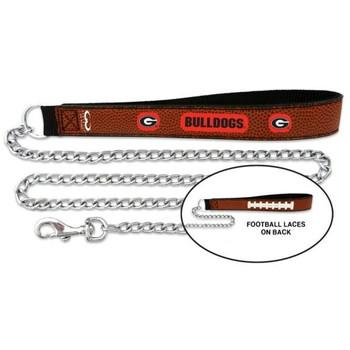 Georgia Bulldogs Football Leather and Chain Leash