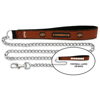 Oklahoma State Cowboys Football Leather and Chain Leash