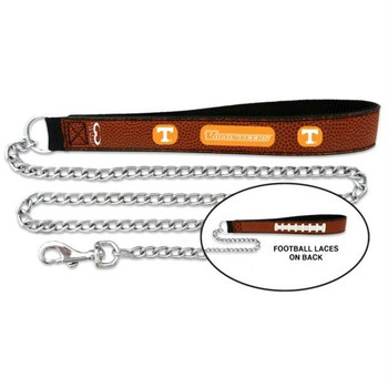 Tennessee Vols Football Leather and Chain Leash