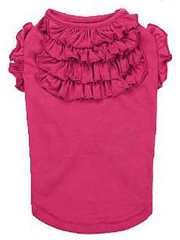 Tiered Ruffled Dog Tee Shirt - Raspberry