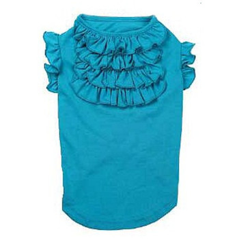 Tiered Ruffled Dog Tee Shirt - Blueberry