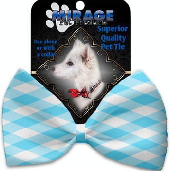 Baby Blue Plaid Pet Bow Tie