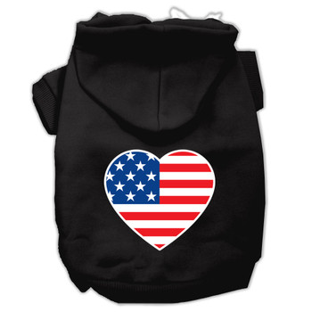 American Flag Heart Screen Print Pet Hoodies - Black