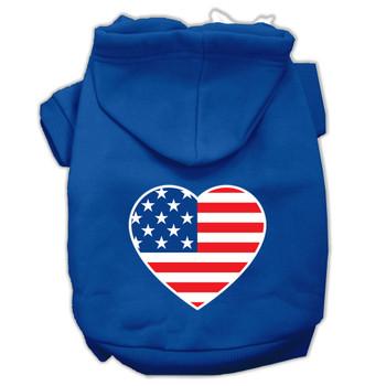 American Flag Heart Screen Print Pet Hoodies - Blue