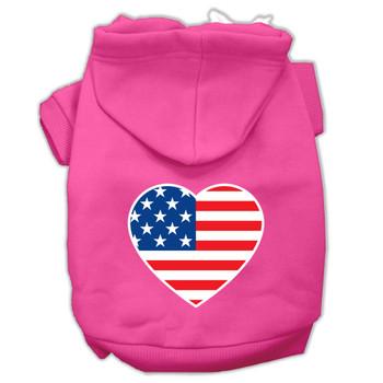 American Flag Heart Screen Print Pet Hoodies - Bright Pink