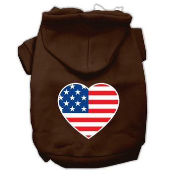 American Flag Heart Screen Print Pet Hoodies - Brown