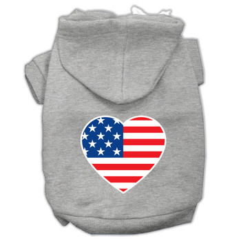 American Flag Heart Screen Print Pet Hoodies - Grey