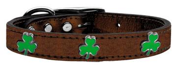 Shamrock Widget Genuine Metallic Leather Dog Collar -Bronze