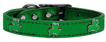 Shamrock Widget Genuine Metallic Leather Dog Collar - Emerald Green