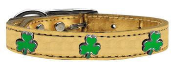 Shamrock Widget Genuine Metallic Leather Dog Collar - Gold