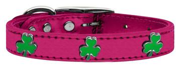 Shamrock Widget Genuine Metallic Leather Dog Collar - Pink