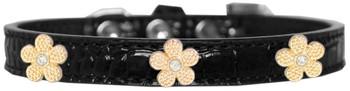 Gold Flower Widget Croc Dog Collar - Black
