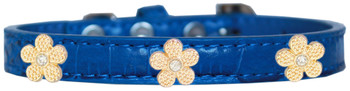 Gold Flower Widget Croc Dog Collar - Blue