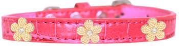 Gold Flower Widget Croc Dog Collar - Bright Pink