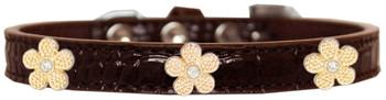 Gold Flower Widget Croc Dog Collar - Chocolate Brown