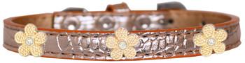 Gold Flower Widget Croc Dog Collar - Copper