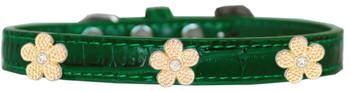 Gold Flower Widget Croc Dog Collar - Emerald Green