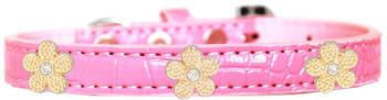 Gold Flower Widget Croc Dog Collar  -  Light Pink