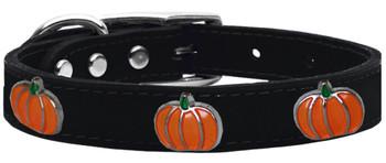 Pumpkin Widget Genuine Leather Dog Collar - Black