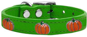 Pumpkin Widget Genuine Leather Dog Collar - Emerald Green