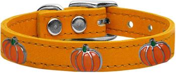 Pumpkin Widget Genuine Leather Dog Collar - Mandarin Orange