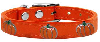 Pumpkin Widget Genuine Leather Dog Collar - Orange