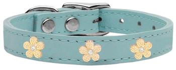 Gold Flower Widget Genuine Leather Dog Collar - Baby Blue