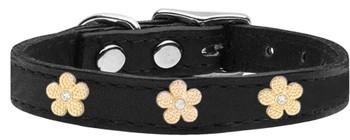 Gold Flower Widget Genuine Leather Dog Collar - Black