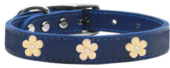 Gold Flower Widget Genuine Leather Dog Collar - Blue
